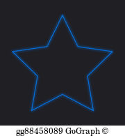 Neon Stars Neon Icon Isolated On A Black Background 5 Pointed Star Star Illustration Neon Stars