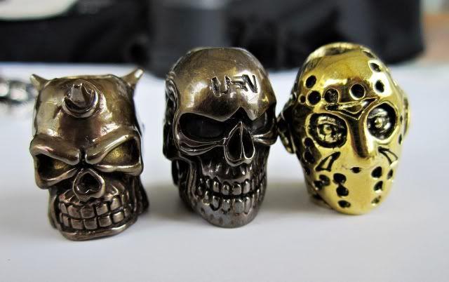 tritium betalight, Steelflame clip, Santi skulls, boot beads and bling