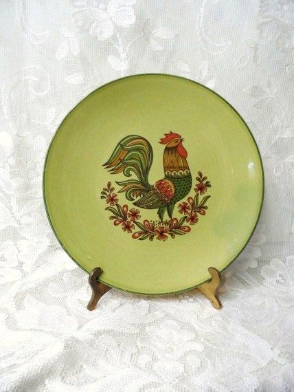 Rooster Plate- Decorative Chicken Hanging Plate- Vintage Wall Display- Farm Chic Decor- Country Living- Crowing Rooster- Green-Orange-Brown & Rooster Plate- Decorative Chicken Hanging Plate- Vintage Wall ...