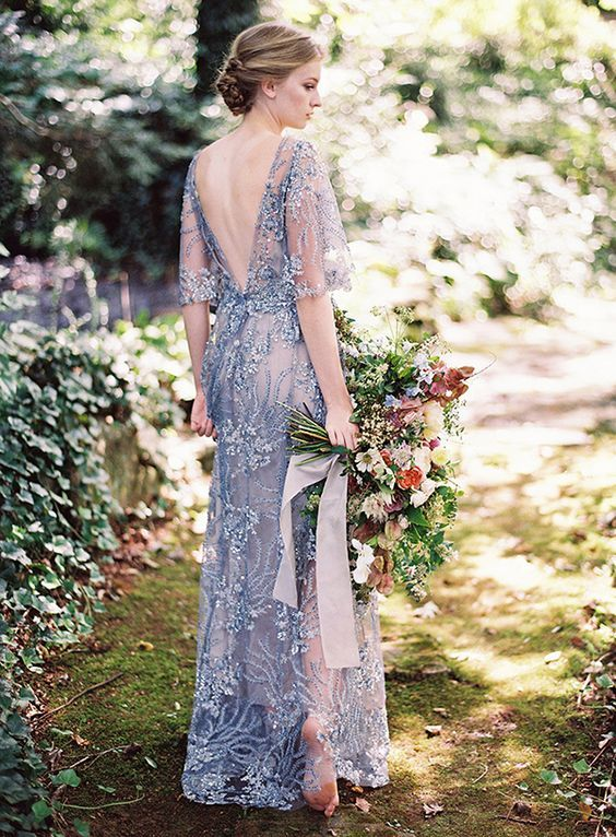 Flutter Sleeve Beaded Wedding Dress In Dusty Blue /  Http://www.deerpearlflowers.com/wedding Dresses With Flutter Sleeves/
