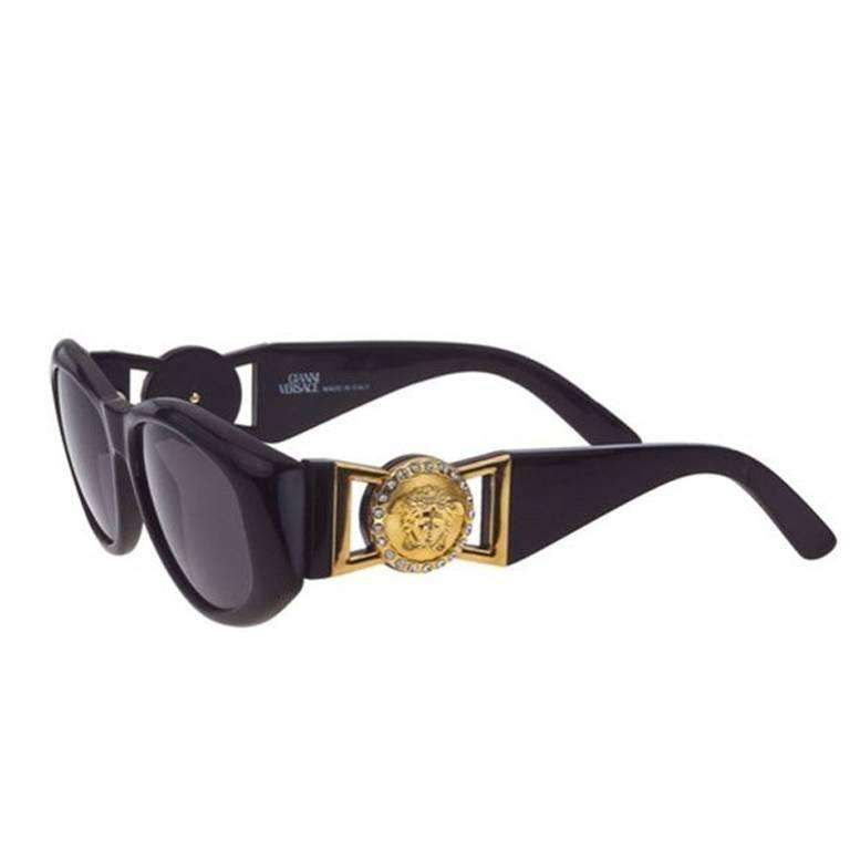 ea29d2c439a Versace Vintage Black MOD 424 Sunglasses with Rhinestones For Sale ...