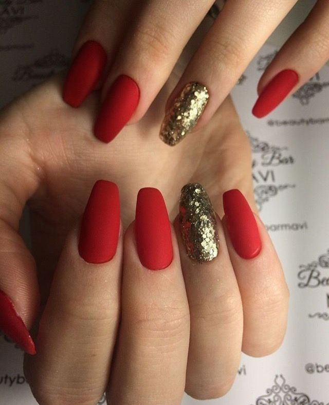 Christmas Red gold glitter accent matte