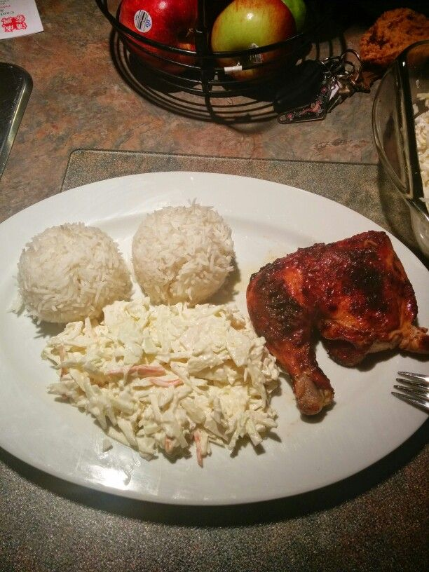 Rice with coleslaw & Barbecue chicken!