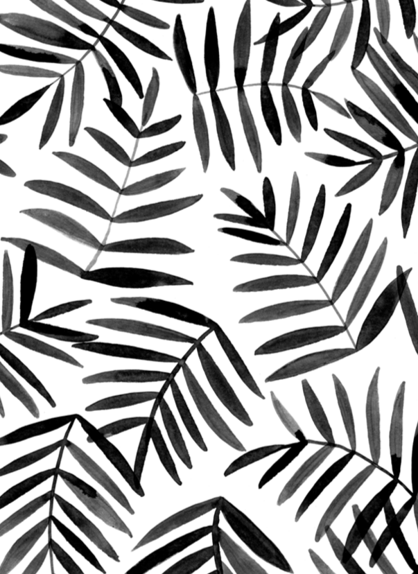 Black Leaves Ink Pattern