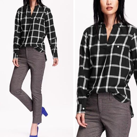 Long Sleeve V-Neck Flannel This is a great shirt for work or just hanging on the weekend. Brand new with tag. Mandarin collar, Split-neck, with surplice V, Decorative button-loop welt faux-pocket at chest, Long sleeves, with buttoned cuffs, Hi-lo hem, with vented sides. Size M Tall. All-over herringbone windowpane-plaid pattern. Old Navy Tops Blouses