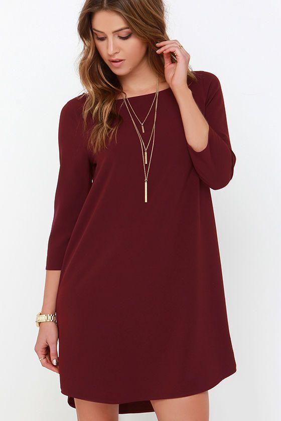 a96ce45c BB Dakota Devin Burgundy Shift Dress | My Style Pinboard | Dresses ...