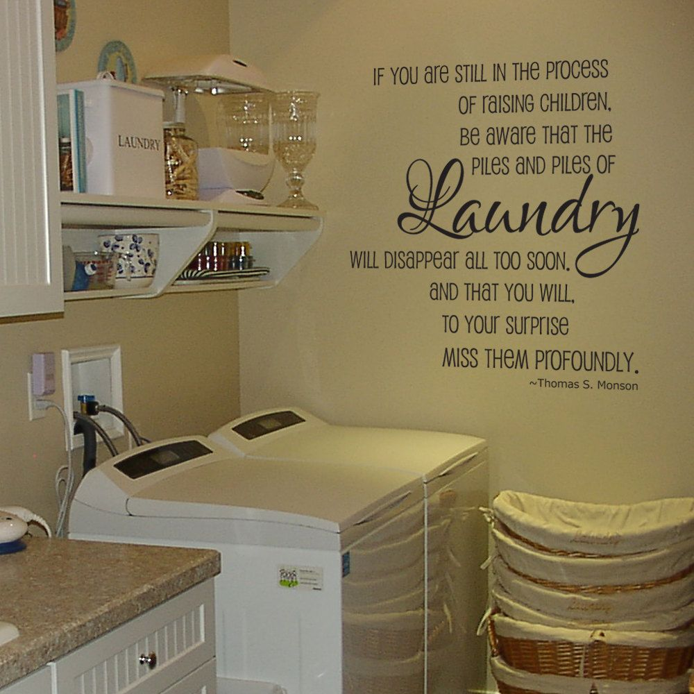 Laundry Room Wall Decor Stickers Captivating Laundry Piles Laundry Room Vinyl Wall Decalgrabersgraphics Inspiration