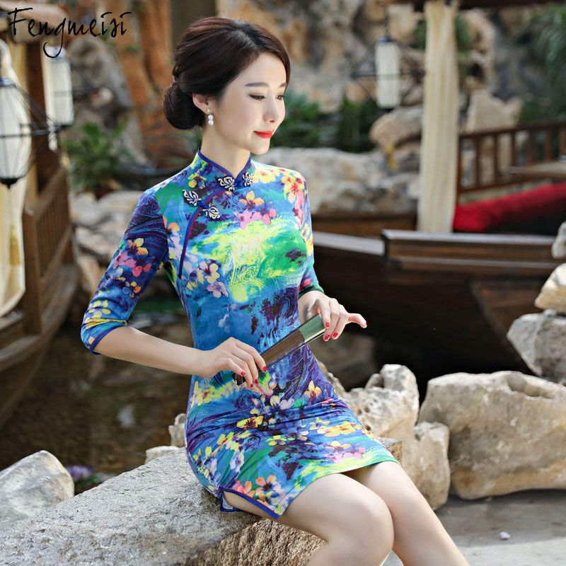 0452e9957 Fengmeisi Women Chinese Girl Cheongsam Short Qipao Style Silk Sexy Dress  Autumn Winter Split Floral Print