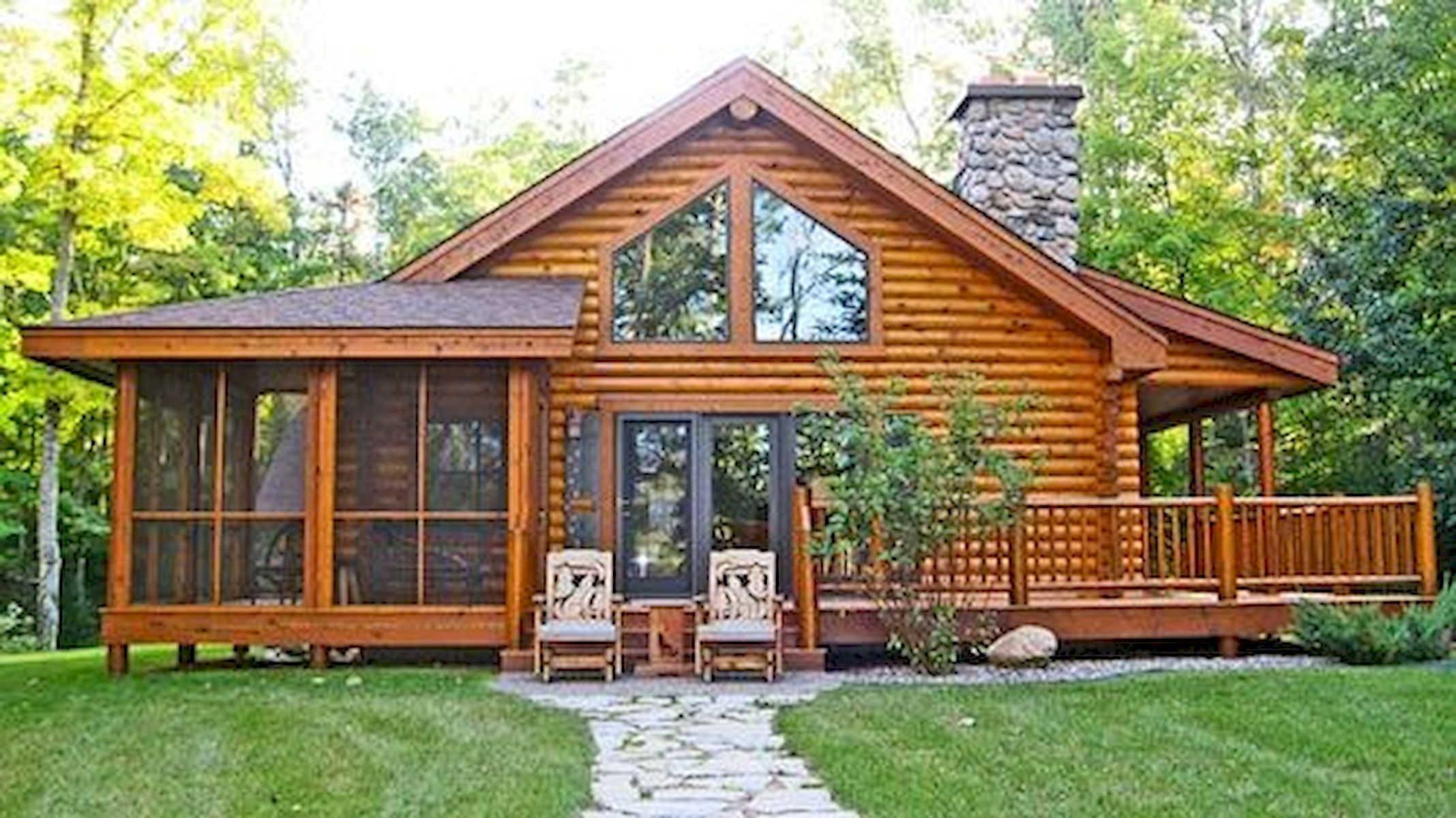 40 Best Log Cabin Homes Plans One Story Design Ideas #logcabinhomes