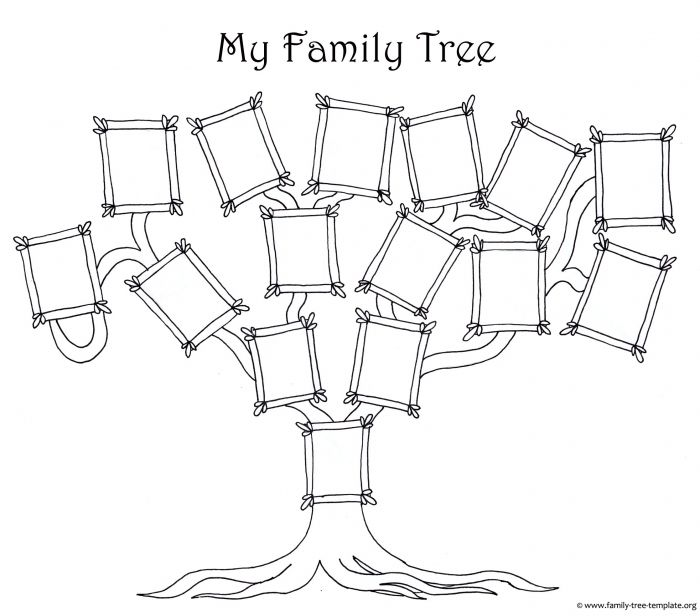 coloring page for kids a simple fun family tree chart family tree