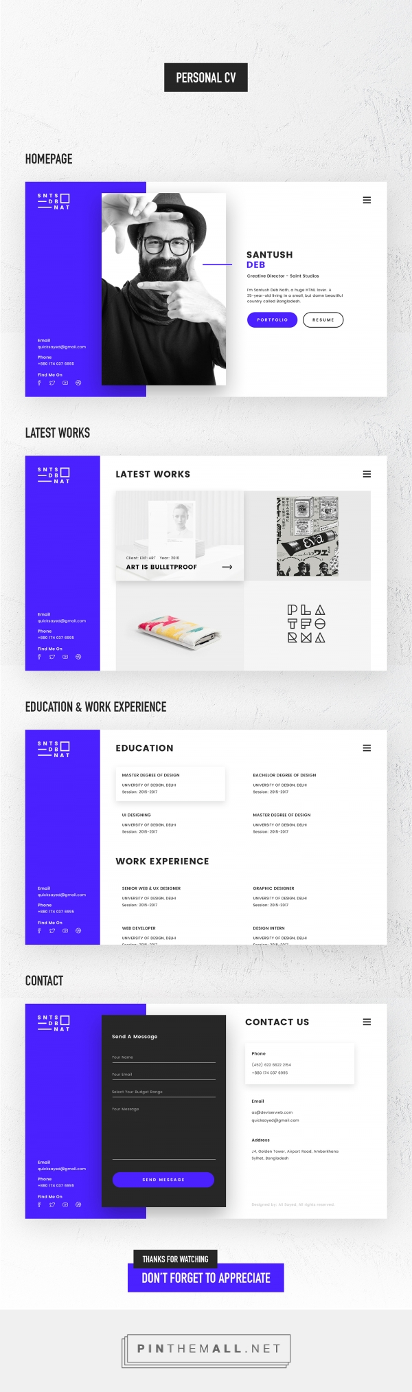 Personal CV or VCard on Behance... - a grouped images picture - Pin ...