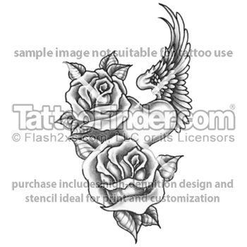 Two Roses Heart With Wings Tattoo Design By Edward Lee Tattoos