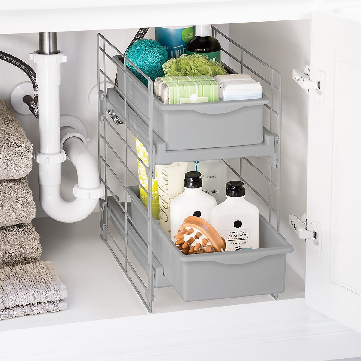 Pin By Heather Feinberg On Home Ideas Under Bathroom Sinks Under Sink Storage Bathroom Sink Organization