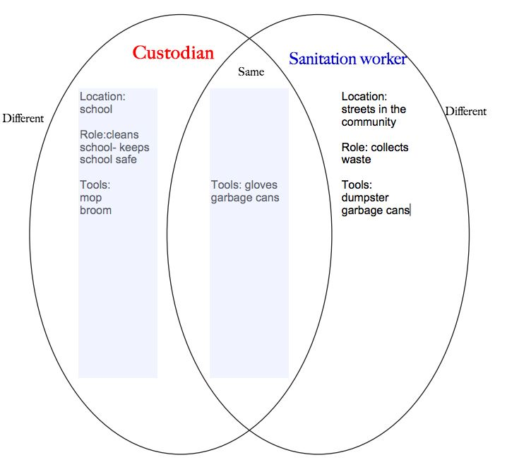 Venn Diagram To Compare And Contrast Custodians To Sanitation
