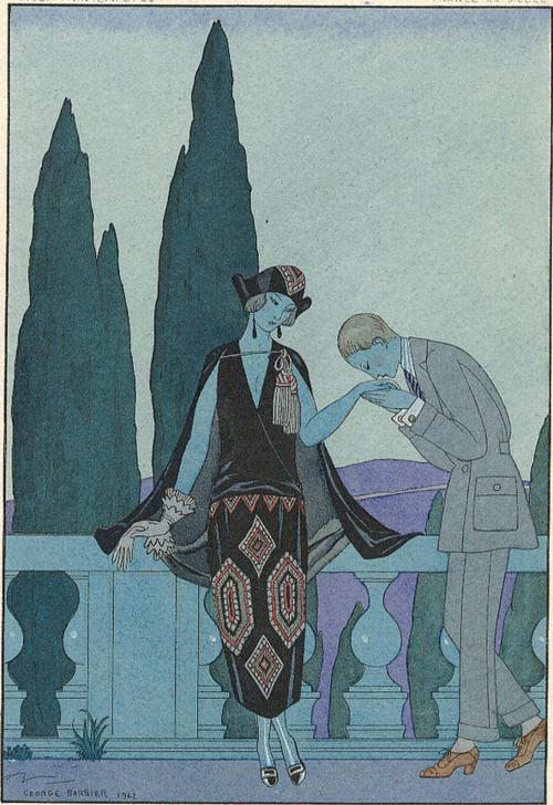 George Barbier (1882-1932) - French Art Deco Fashion Illustrator - Le Villa d'Este, 1923
