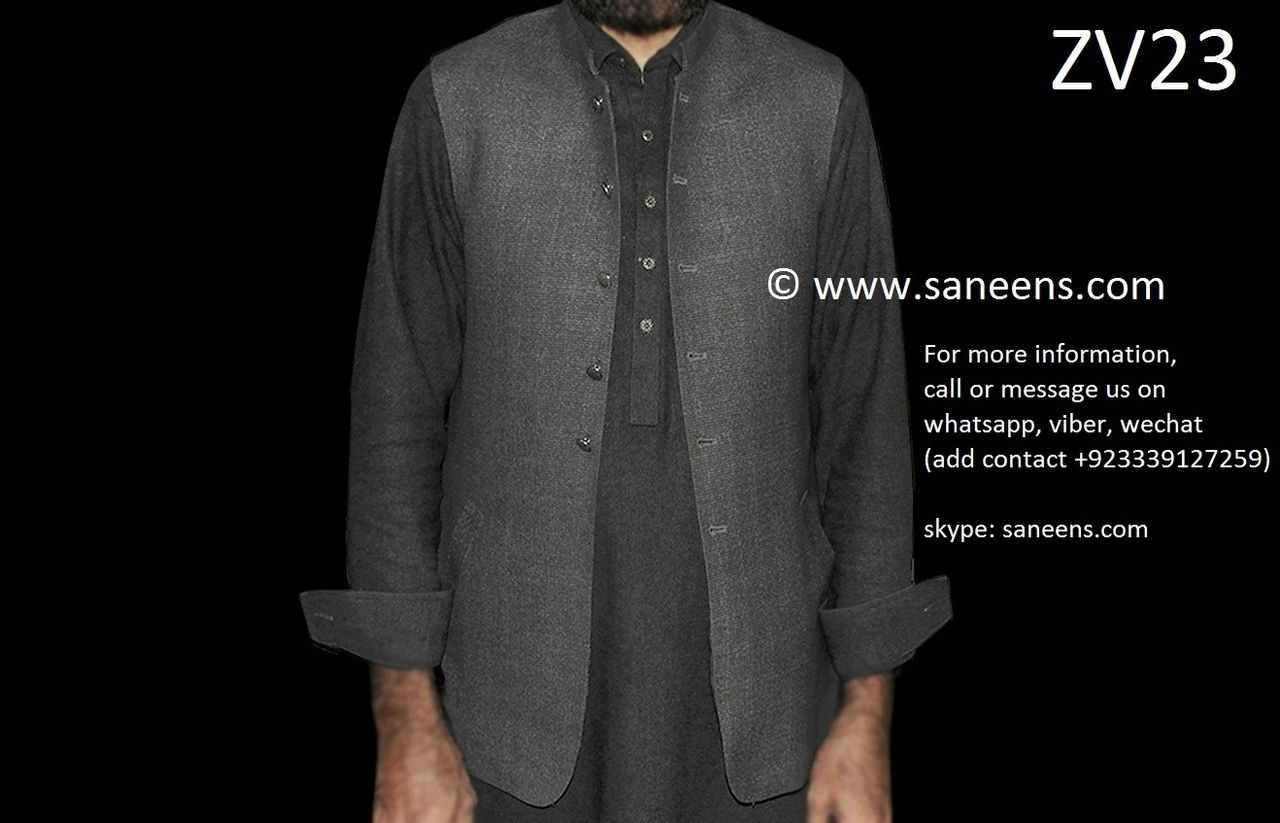 Afghan traditional vest in gray color pashtun men fancy waistcoat