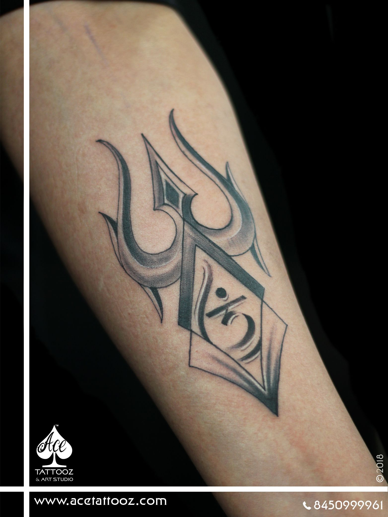 031f42d0b7cbe Tattoo of customized Trishul – The Divine Weapon of Lord Shiva. Shul means  problems or