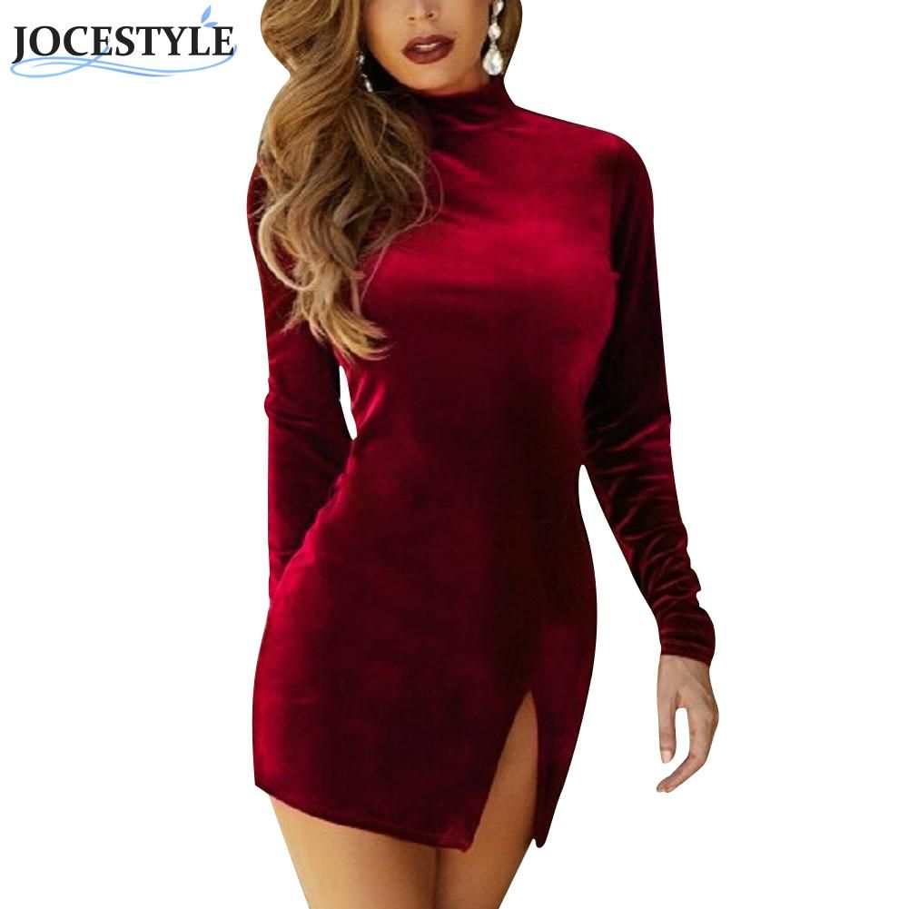 Women mini dress velvet casual solid color long sleeve choker side