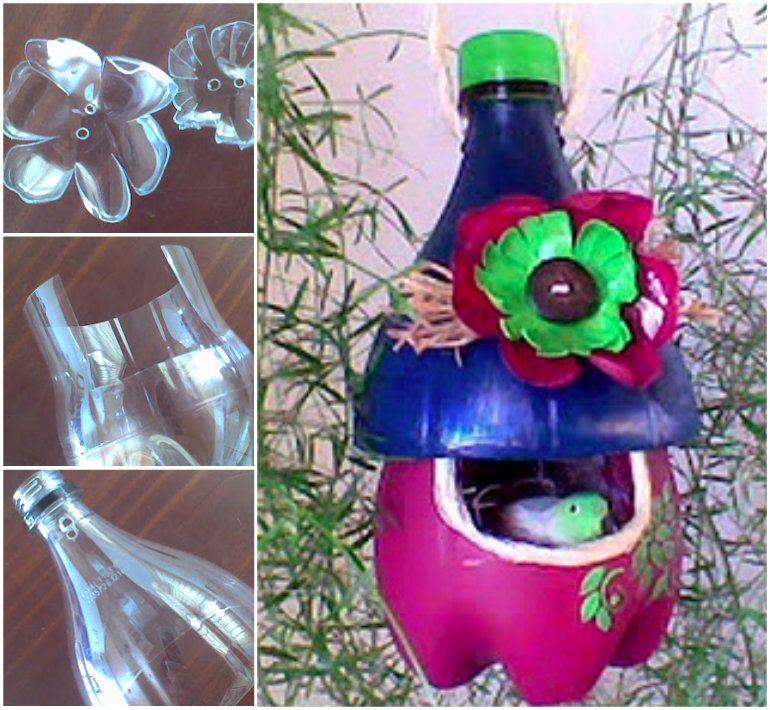 Plastic bottle bird feeder craft super easy video for Things to make with plastic bottles for kids