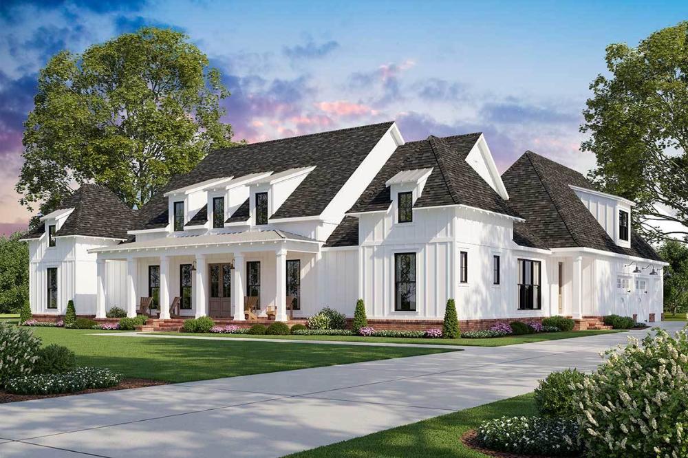 Plan 56458SM: Exclusive Farmhouse Plan with Luxurious Master Suite