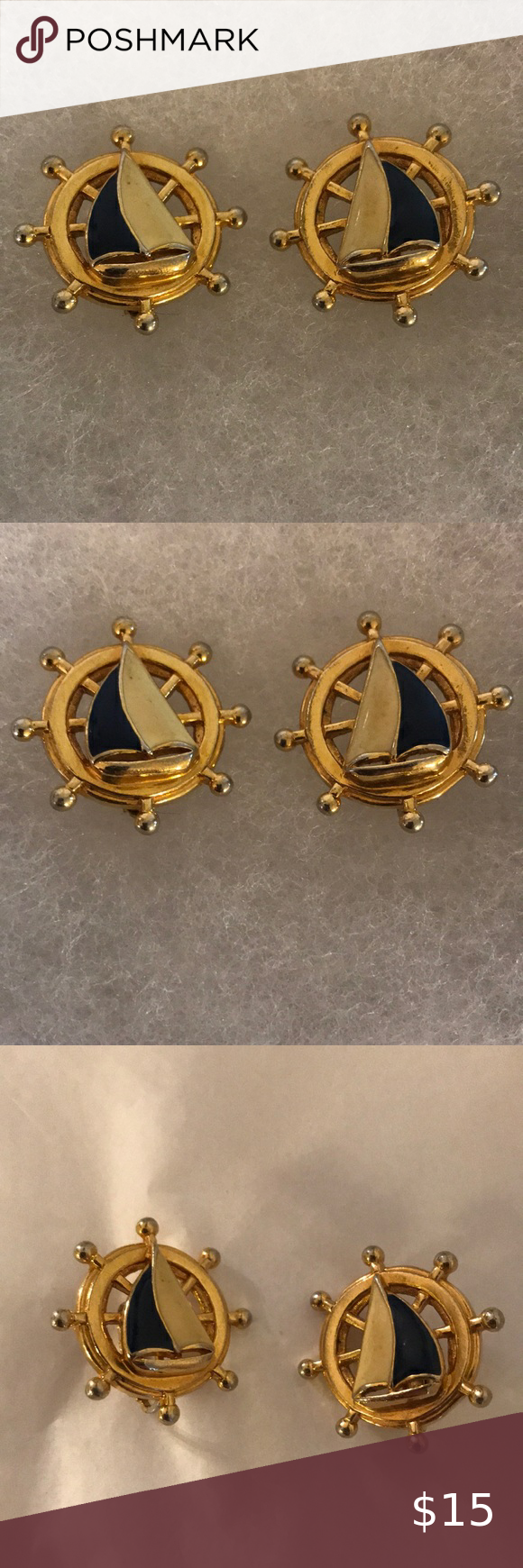 Vintage Avon Sailboat Gold Clip On Earrings H In 2020 Gold Clips Clip On Earrings Vintage Avon