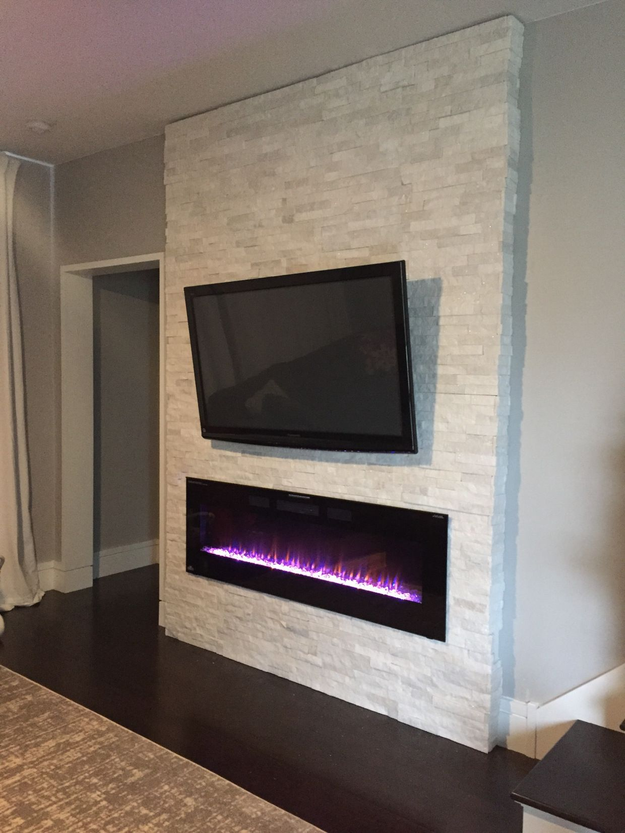long mounted electric john fireplace wall robinson installing decor mount