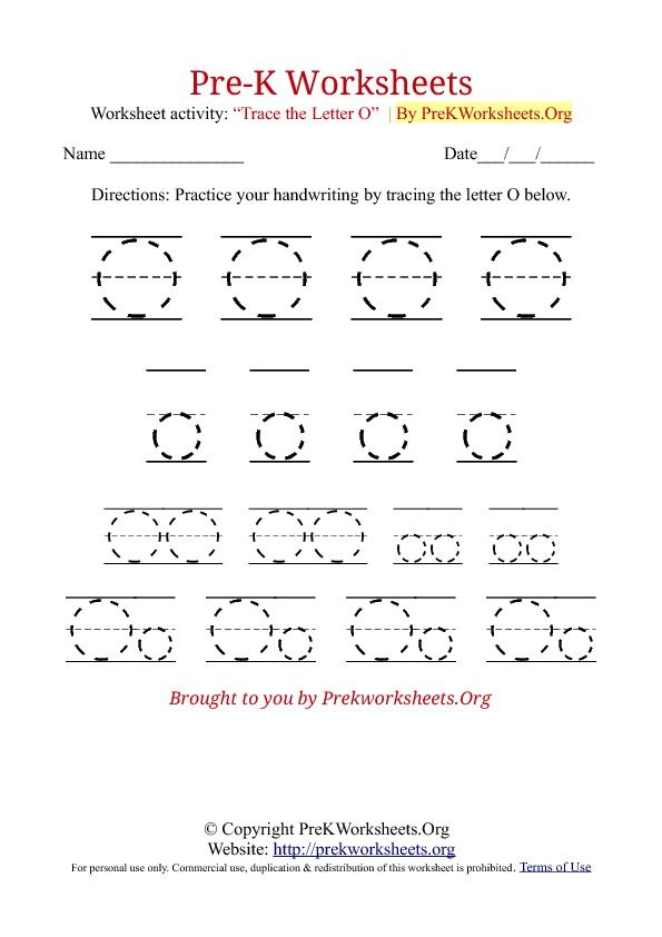 o tracing sheet | Pre-K Worksheets Alphabet Tracing | Pre K ...