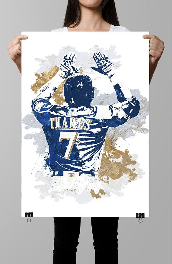 eric thames milwaukee brewers sports poster fan art sports wall