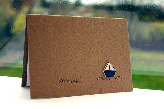 Handmade Goodbye Card // Bon Voyage Card // by LittleSilverleaf, £3.95