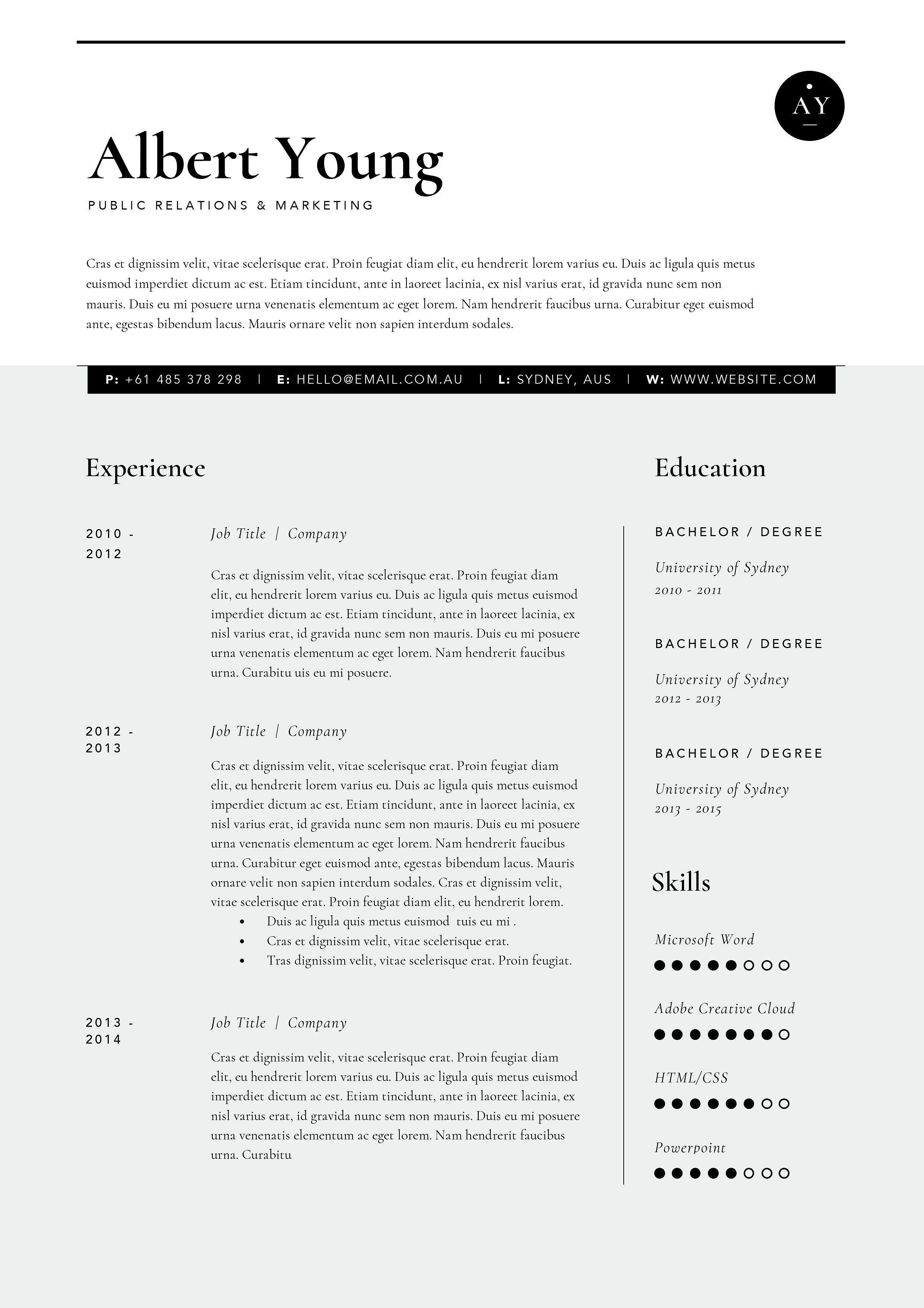 Pin by on cv pinterest cv template and template resume template 3 page yelopaper Gallery