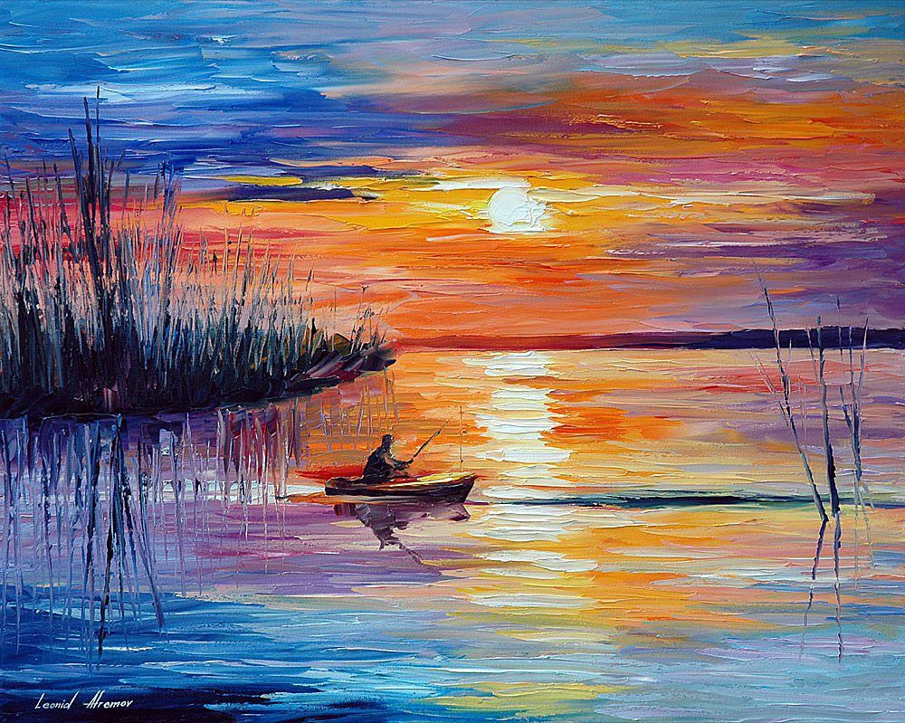 LAKE OKEECHOBEE  SUNSET FISHING — PALETTE KNIFE Oil Painting On Canvas By is part of Boat painting canvas, Watercolor paintings, Fish painting, Painting, Lake painting, Painting canvases - Enjoy the stunning colors of sunset and the quiet hours of fishing at lake Okeechobee in a painting by Leonid Afremov (oil, palette knife, size 30x24)  Buy online affordably with free worldwide delivery