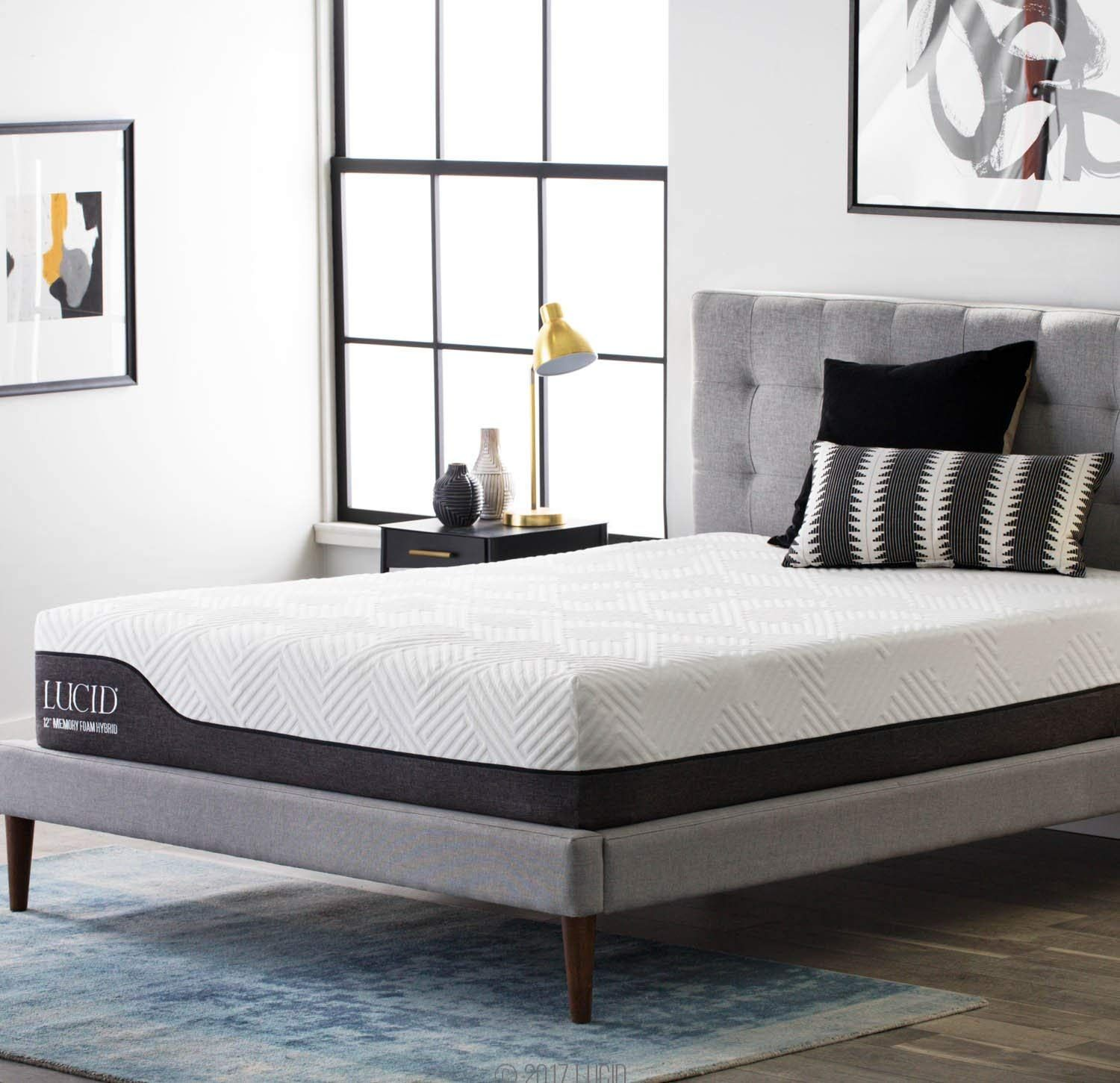 Lucid 12 Inch Queen Hybrid Mattress Bamboo Charcoal And Aloe Vera Infused Memory Foam Motion Hybrid Mattress Firm Memory Foam Mattress Memory Foam Mattress