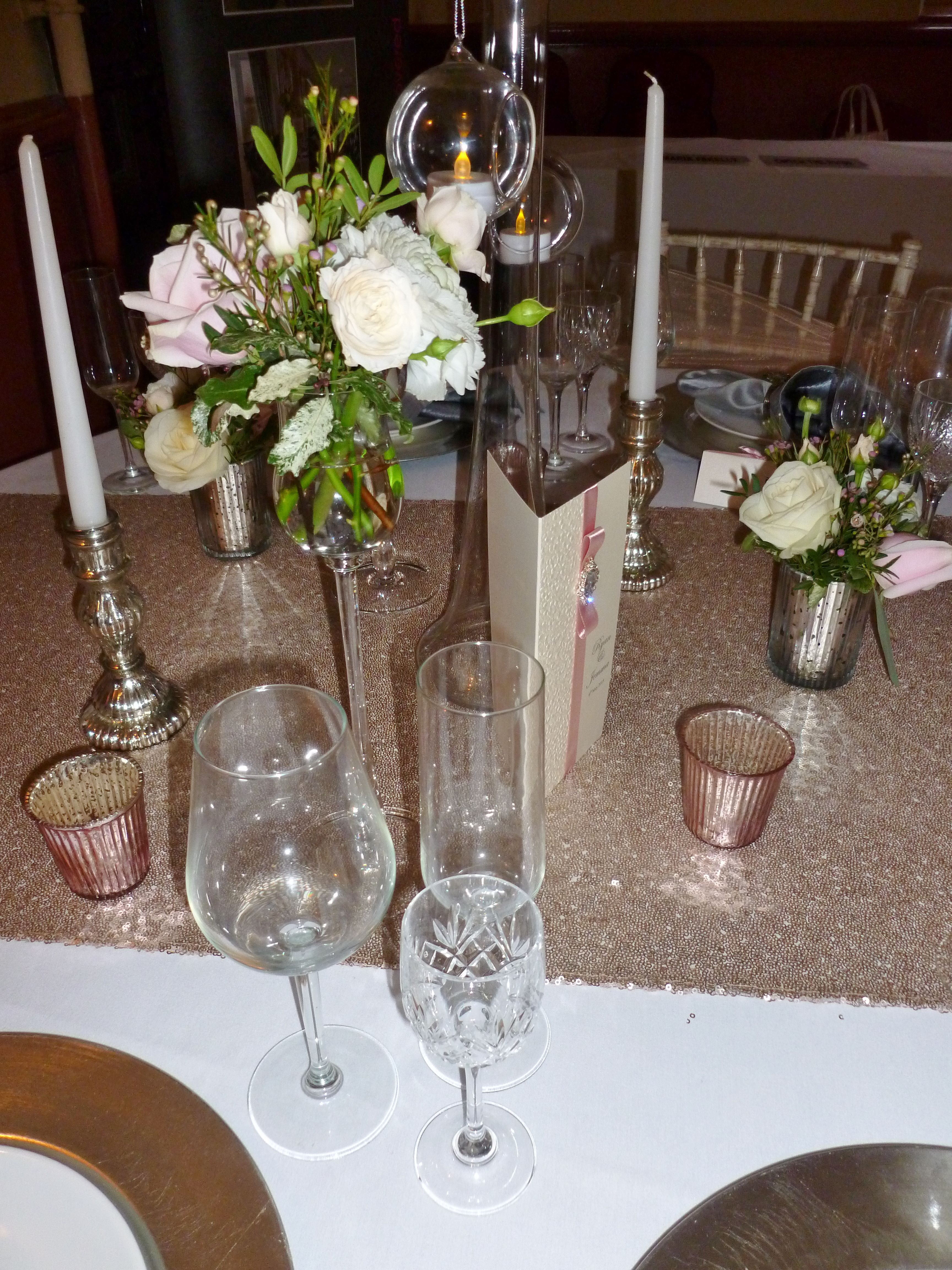 Champagne sequin table runner by Simply Bows and Chair Covers