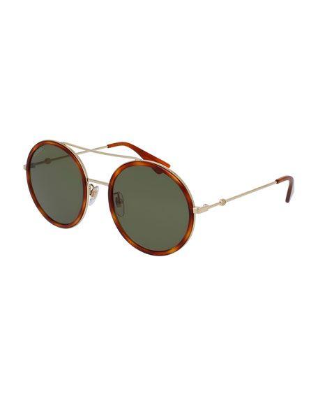 49b379e54 Men's Shoes, Clothing & Accessories at Bergdorf Goodman. GUCCI  Monochromatic Round Acetate-Trim Metal Sunglasses, Gold. #gucci #