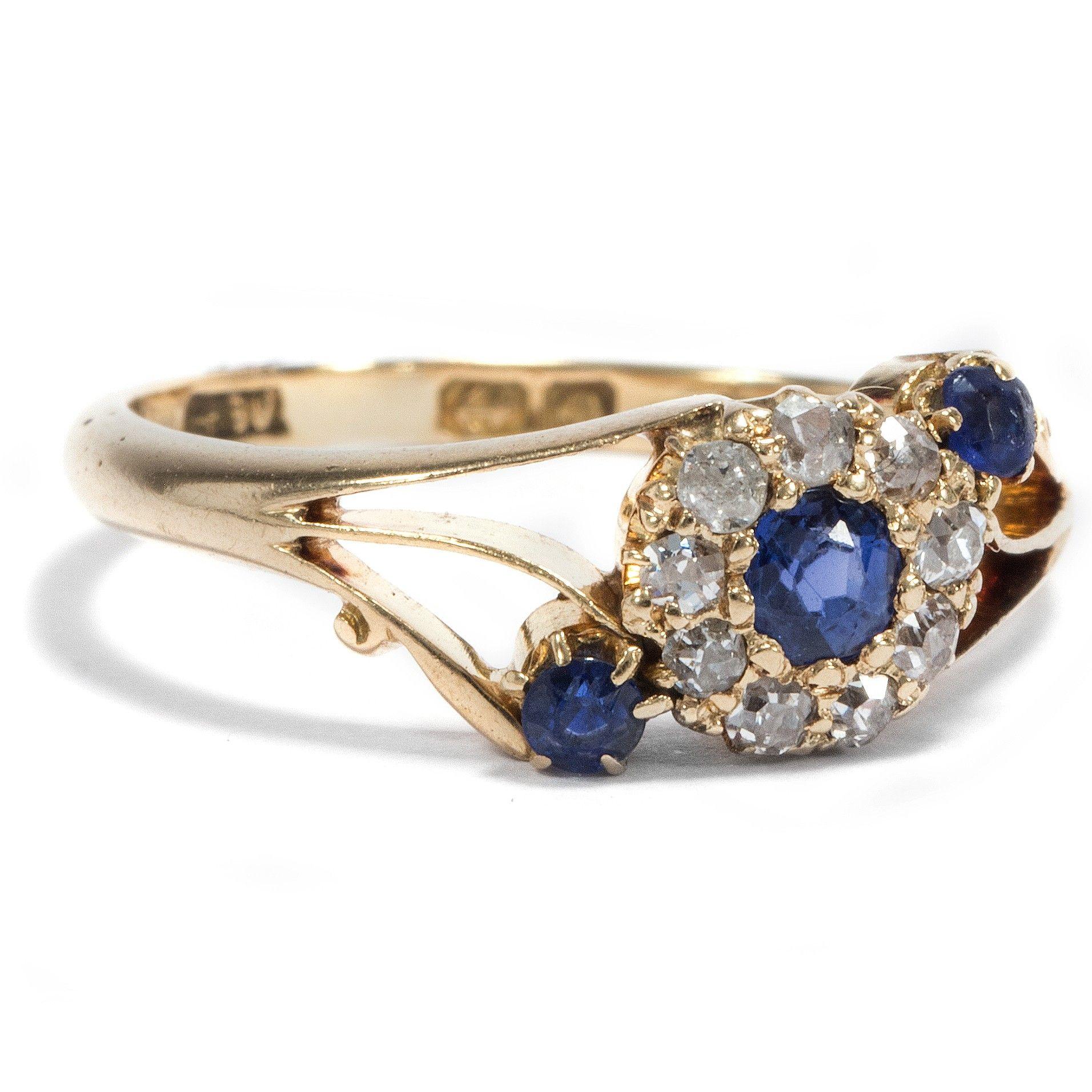 Liebe, Treue, Ewigkeit - Feiner Goldring mit Saphir & Diamanten, Birmingham 1913 von Hofer Antikschmuck aus Berlin // #hoferantikschmuck #antik #schmuck #antique #jewellery #jewelry