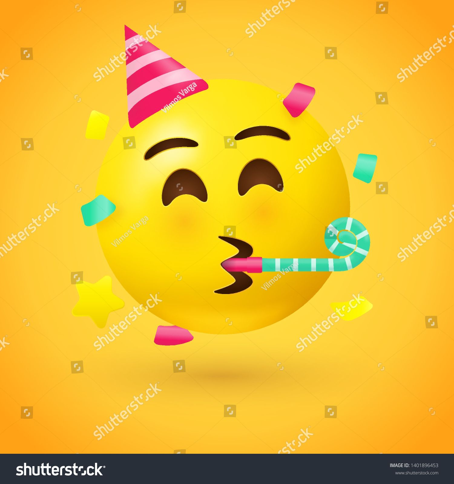 Party Face Emoji Yellow Face With A Party Hat Blowing A Party Horn As Confetti Floats Around Its Head Used For Cel Party Horns Horn Illustration Face Emoji