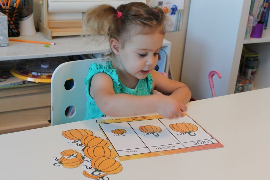 Different preschool pumpkin activities for fine motor skills, counting, sorting, larger to smaller, etc.