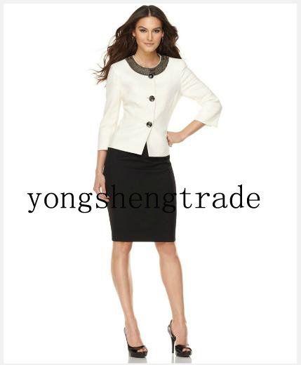 Dress Women Suit Three Quarter Sleeve Embellished Jacket & Skirt Crew  Neckline 683