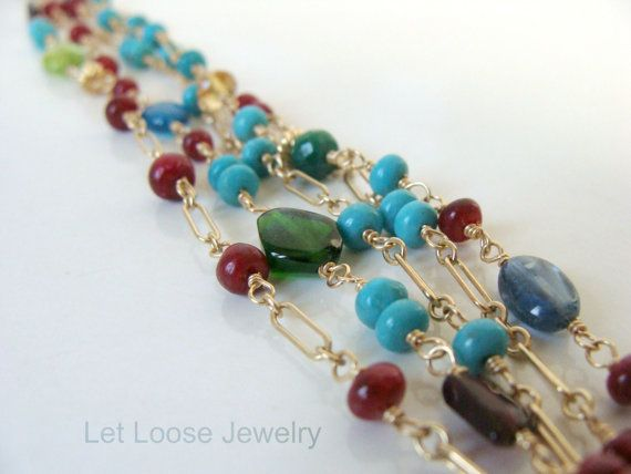 Colorful multistrand gold gemstone bracelet, genuine turquoise ruby citrine and more, handmade, 14kt goldfill, Let Loose Jewelry, under 200,