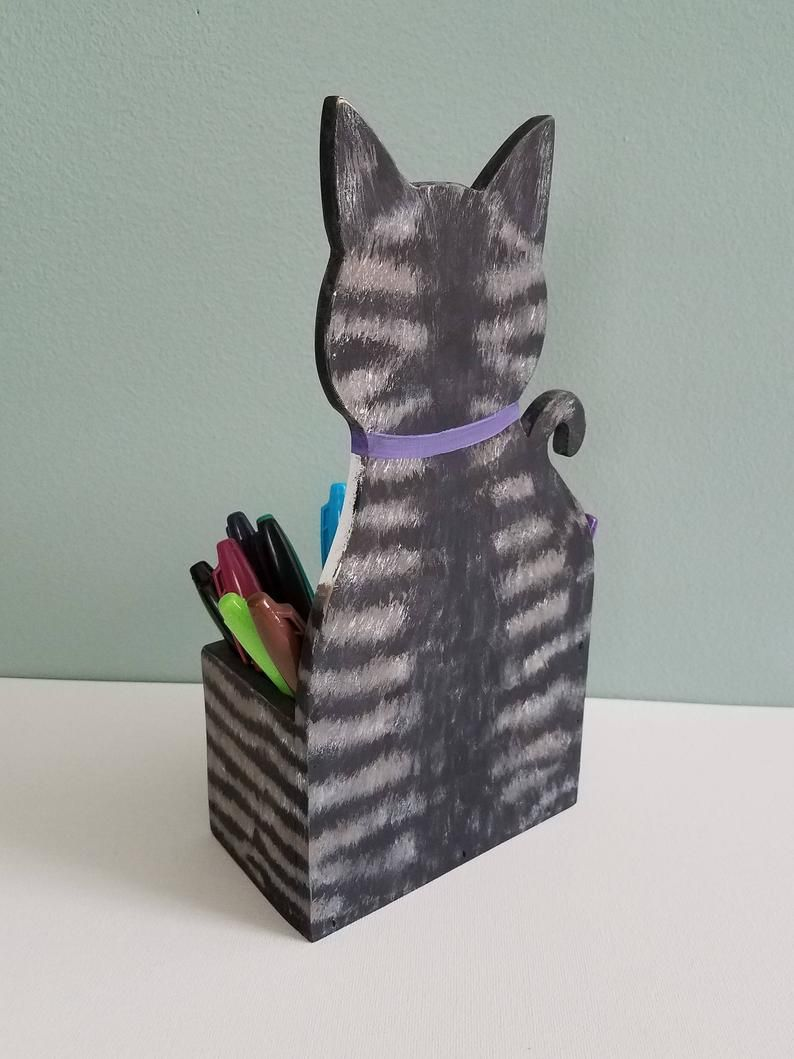 Custom Cat Pen Pencil Holder Cat Desk Accessory Cat Lover Etsy Cat Pen Custom Cat Etsy