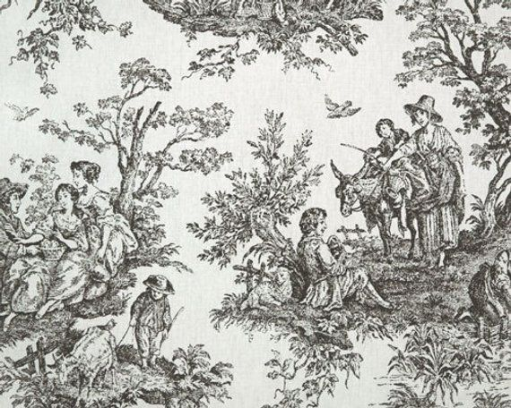 Premier Prints Exclusive Colonial Toile Cotton Duck Blue