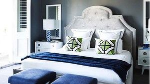 Deep Blue: Midnight blue accents in bedroom of Clark Payne house by Greg Natale Design.