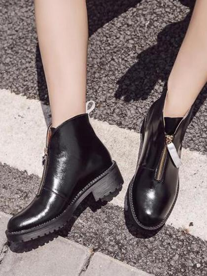 Black Zip Front Leather Look Ankle