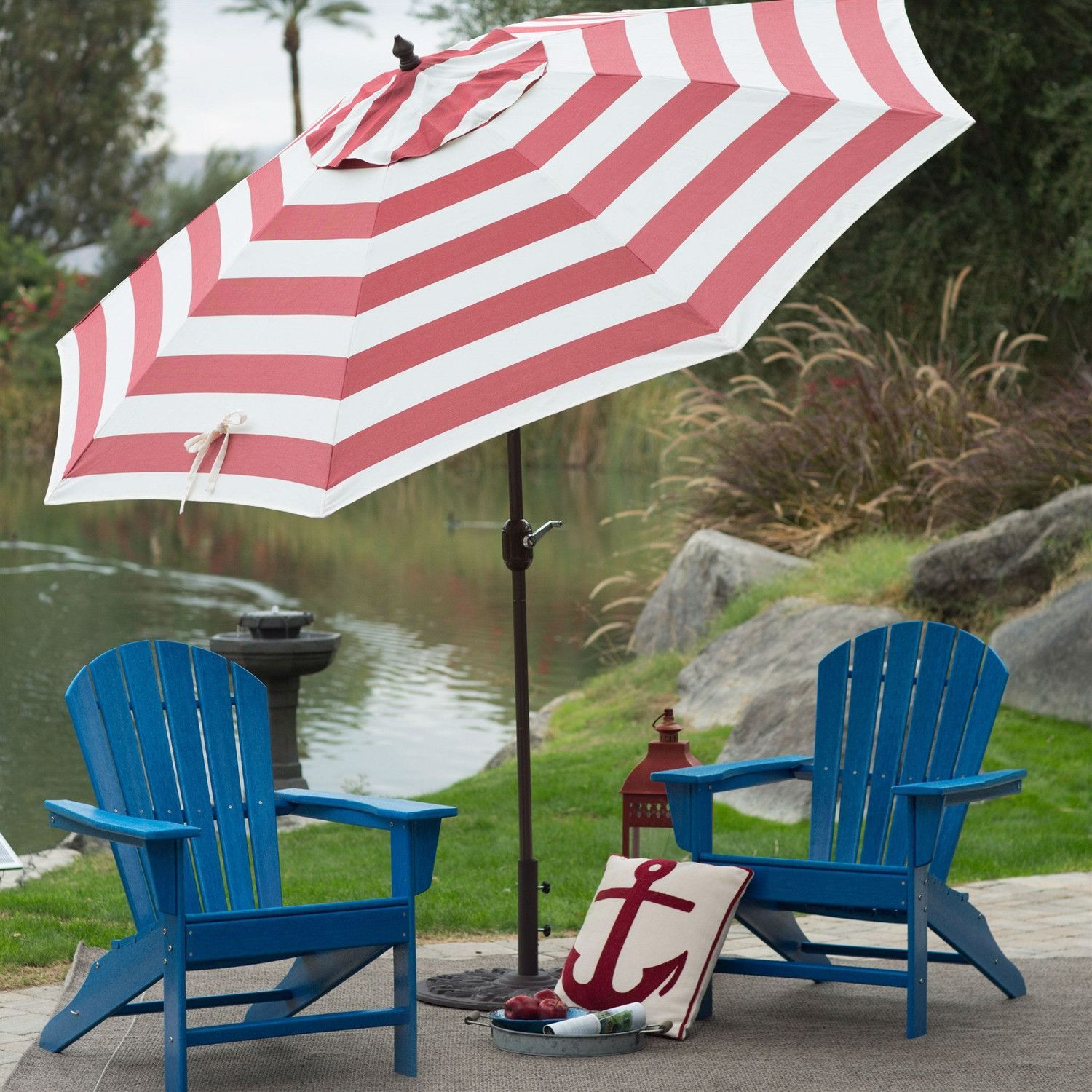 Bon Outdoor 9 Ft Metal Patio Umbrella With Tilt And Crank Lift In Red And White