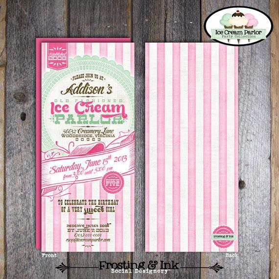 cream invitations ice Retro social