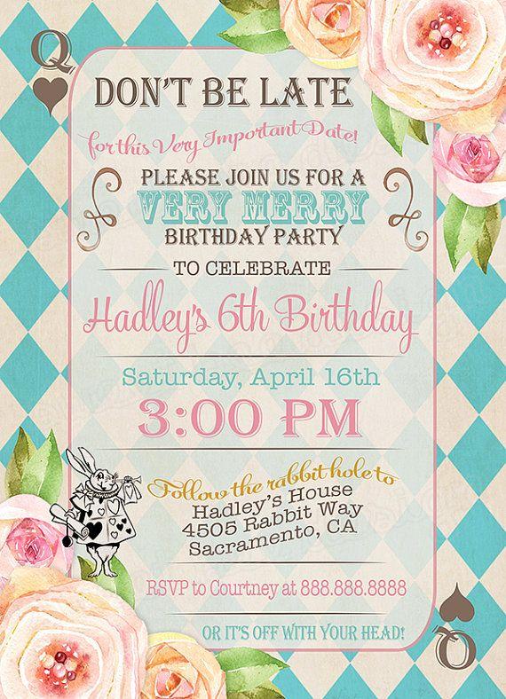 Alice In Wonderland Birthday Party Invitation Alice In Onederland - Free birthday invitations alice in wonderland
