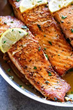 Pan Seared Salmon with Lemon Garlic Butter Sauce - Cafe Delites #searedsalmonrecipes