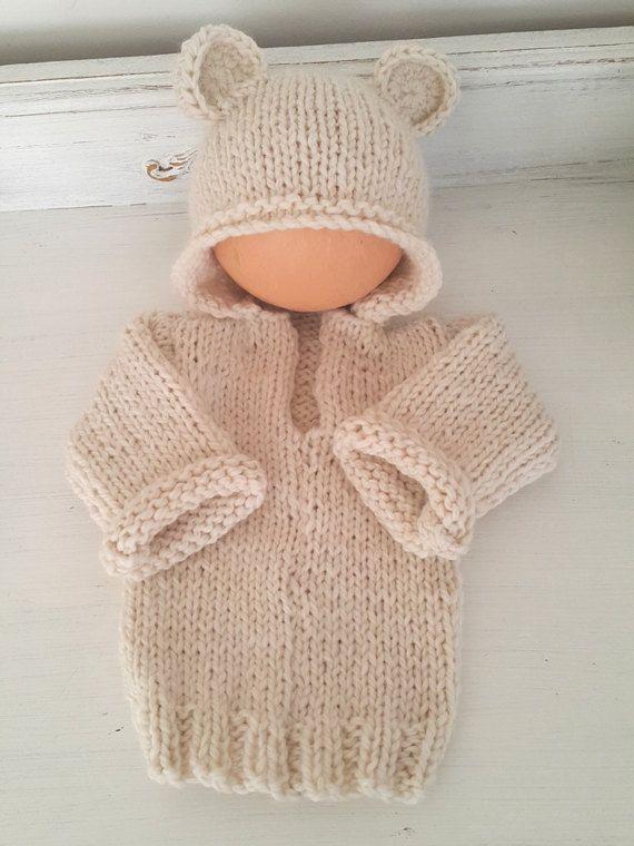 Baby Bear Hoodie Pattern - 0-6 months hoodie pattern - Baby sweater ...