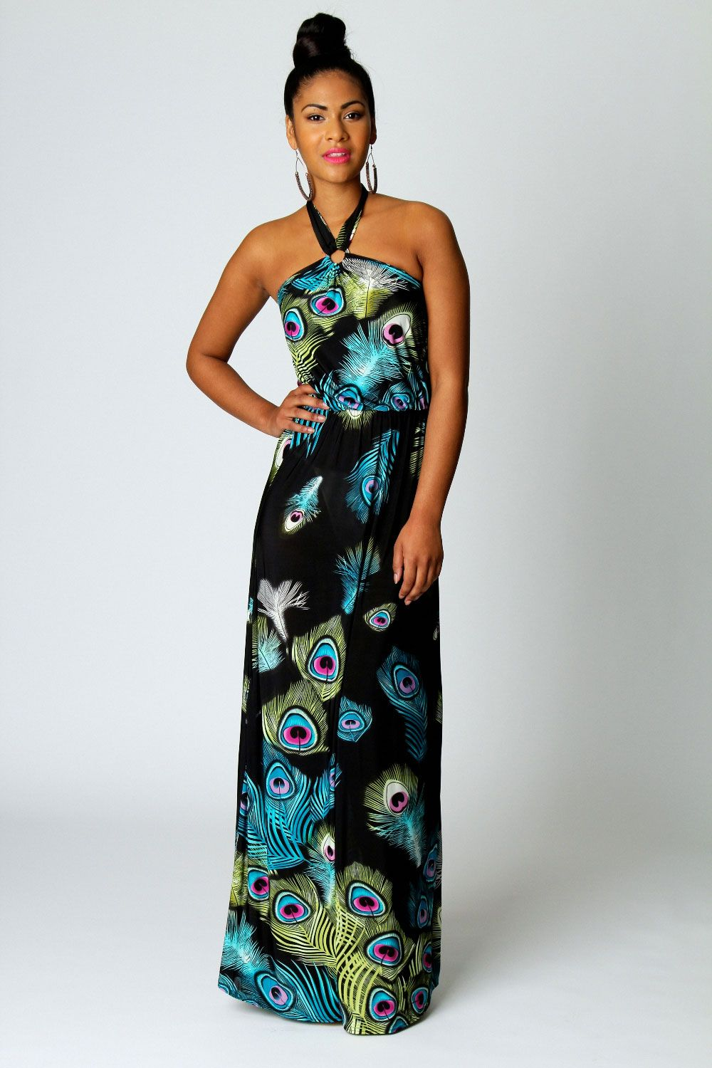 9c1e959fb22e Sasha Peacock Print Ring Detail Maxi Dress | Mardi Gras Ideas ...