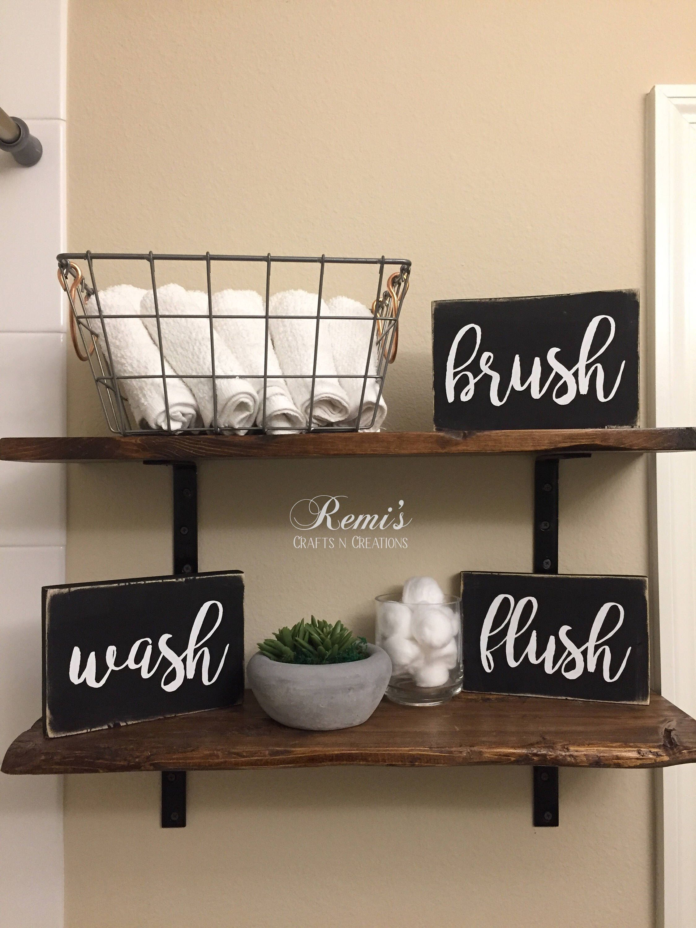 Set of 3 bathroom decor farmhouse bathroom shelf decor wood sign